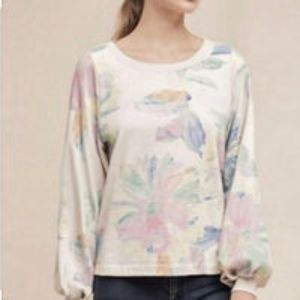 Saturday Sunday Anthropologie Floral Sweatshirt